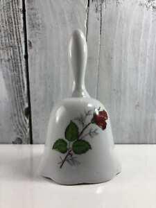 """Vintage Fine Bone China Rose Floral Bell 4 1/2"""" White Porcelain Clapper"""