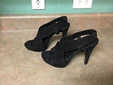 DVF Diane von Furstenberg Heels Sandals Black Suede Size 9.5 M (CON5)