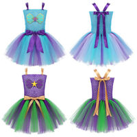 Kids Girls Mermaid Princess Tutu Dress Rainbow Mesh Party Costume Outfit Dresses
