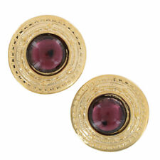 Purple Rhinestone Gold Tone Round Button Pierced Earrings USA Made 1 1/4""