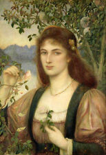 Oil painting portraits The Rose from Armida's Garden with flowers Hand painted