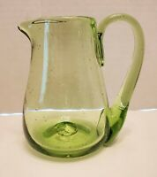 Vintage Colonial Jamestown- Va. Green Hand Blown Glass Pitcher