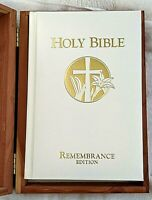 WHITE HOLY BIBLE, REMEMBRANCE EDITION, IN WOODEN CEDAR BOX