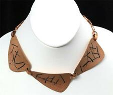 Vintage Modernist Textured Copper & Enamel Abstract Necklace Statement Choker