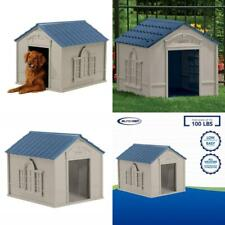 New listing Durable Tan/Blue Indoor & Outdoor Dog Safe House for Medium and Large Breeds