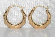 9CT GOLD DIAMOND CUT CREOLE HOOP EARRINGS