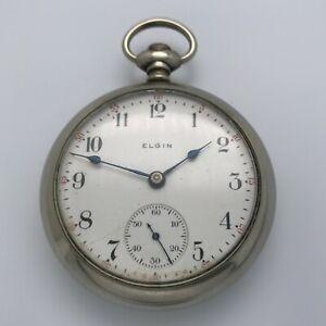 Antique 1905 Elgin Grade 308 17J 18s Pocket Watch - Missing Crown