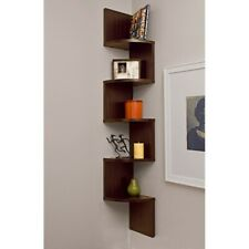 Danya B Large Laminated Walnut Veneer Corner Wall Mount Shelf - XF11035
