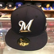 New Era 59FIFTY Milwaukee Brewers Fitted Hat Cap Navy/Grey Bottom