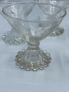 Anchor Hocking Dessert Vintage Etched Glasses Bead Edge Footed Set Of 6