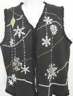 Ugly Christmas Vest Womens L Black White Snowflakes Designers Original Joy