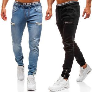 Mens Elasticated Denim Pants Skinny Zipper Jogging Joggers Sport Jeans Trousers