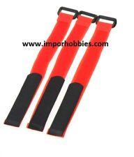 Correa sujeción baterías lipo roja 26cm 1/8 Scale (3 Uds.) QR-154R