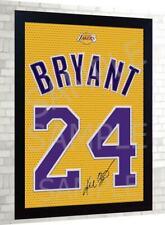 Kobe Bryant LA Lakers basket NBA signed Jersey t-shirt Canvas 100% cotton Framed