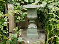 CAST IRON URN PLANTER VASE  WITH BASE SMALL URN COPPER FINISH VENETIAN LOOK ###