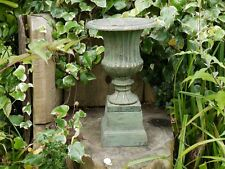 CAST IRON URN PLANTER VASE  WITH BASE SMALL URN COPPER FINISH VENETIAN LOOK