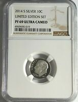 2014 S PROOF SILVER ROOSEVELT DIME LIMITED EDITION NGC PF69 ULTRA CAMEO 10c