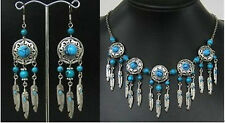 Handmade Set Jewelry tibet Silver black jade Beads Necklace&earring