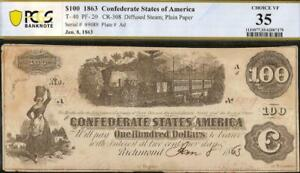 1862 63 $100 CONFEDERATE STATES CURRENCY CIVIL WAR NOTE PAPER MONEY T-40 PCGS 35