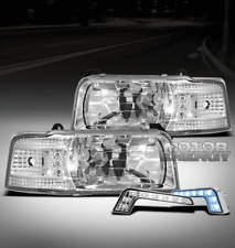 92-96 FORD BRONCO F150 F250 F350 LED CRYSTAL HEAD LIGHTS+BLUE DRL CORNER SIGNAL
