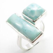 New RING Solid 925 Silver Size 8.25 ! Genuine LARIMAR 2 Gemset Finger Adjustable