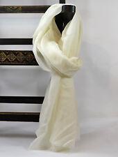 Unisex 100% White Super Light Warm Wool Cashmere Scarf Wrap Shawl Handmade Nepal