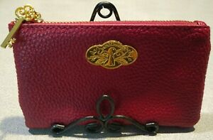 Bareminerals Red Zip Top Purse, Cosmetic Bag, with key charm, rare