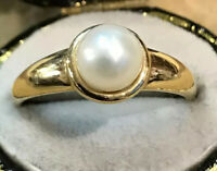 Vintage 14ct Gold Pearl Ring Size P1/2