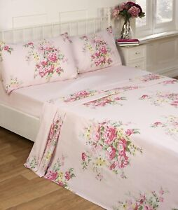 Shabby Chic Flannelette Sheet Set Brushed Cotton King Bed Fitted Flat Sheet Pink