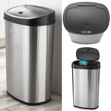 Motion Sensor Trash Can Garbage Hands Free Automatic Stainless Steel 13.2 Gallon