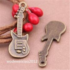 15pc Antique Bronze guitar Charm Beads Pendant accessories Findings JP982