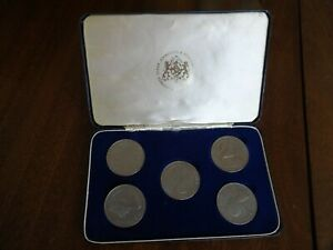 Coin Collection in Box Five Shillings Crown 1953 Coronation 1977 Set Job Lot