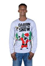 RWB Santa Dabbin Through The Snow Ugly Christmas Sweater Pullover Grey X-Large