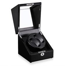 Case Wood Display Box Japan Motor New Black Automatic Rotation 2 Watch Winder