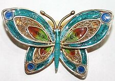 Enameled Filigree Butterfly Hand Made Brooch Antique Art Deco Silver Gold Pl.