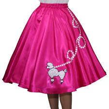 "New FUCHSHIA SATIN 50's Poodle Skirt Adult Size Small Waist 25""-32"" Length 25"""