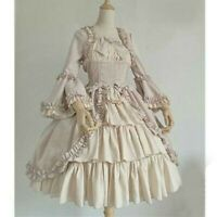 Lady Gothic Lolita Dress Tiered Ruffle Vintage Medieval Victorian Costume Fairy