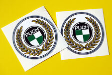 PUCH pair of head badge vintage style Cycle Frame Decals Stickers METALLIC INK