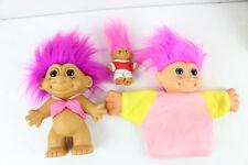 "Lot of 3 Troll Dolls - Bra Doll 7"" Miniature 3"" and Hand Puppet"