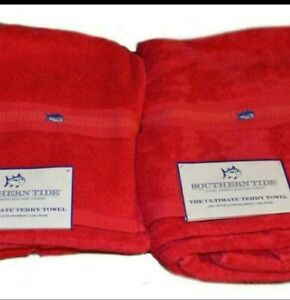 """Brand New 2 Southern Tide Bath Sheet Towels 100% Cotton  35"""" x 68""""  Color Red"""