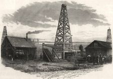 The land of oil: exterior of an oil-working. Pennsylvania, antique print, 1875