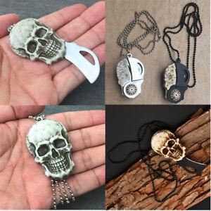 Skull Pocket Knife Necklace Chain Men Pendants Knife Outdoor Foldable Gift