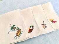 4 Vintage Handmade Embroidered Napkins Mexico Beach Fiesta Ecru Linen