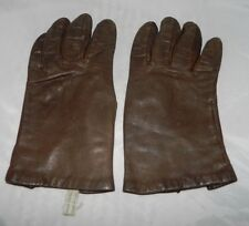 Vtg Brown Leather Rayon Lined Tailored Gloves Size 6.5 Italian