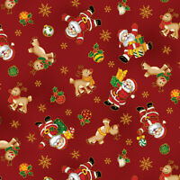 Seasons Greeting Santa & Reindeer Red Fabri-Quilt 100% Cotton fabric by the yard