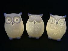 Eulen 3erSet mit LED je 9 cm Keramik Figur Deko Eule Uhu Vogel Vögel neu