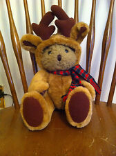 plush teddy bear dressed in reindeer outfit Christmas Holiday Disguised Cute