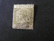 *GIBRALTAR, SCOTT # 31, 20c.VALUE OLIVE GREEN QV 1895 ISSUE USED