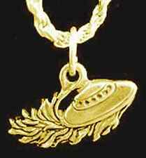 LOOK Alien abduction Flying Saucer Pendant Charm Gold plated Real Silver UFO Jew