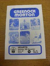 18/11/1978 Greenock Morton v Heart Of Midlothian  (scores on back). Item appears